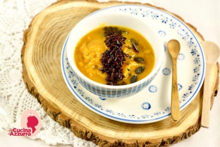 riso rosso e vellutata di zucca